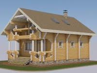 Проект дома с баней из оцилиндрованного бревна ДБ-118