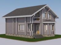Проект дома из оцилиндрованного бревна Д-137