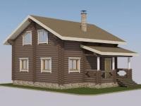 Проект дома из оцилиндрованного бревна Д-128
