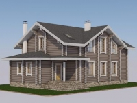 Проект дома из оцилиндрованного бревна Д-205