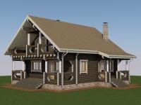 Проект дома из оцилиндрованного бревна Д-177