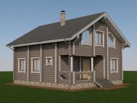 Проект дома из оцилиндрованного бревна Д-174