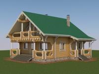 Проект дома из оцилиндрованного бревна Д-176