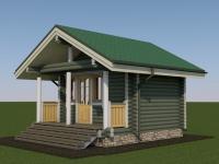 Проект садового дома из оцилиндрованного бревна СД-15