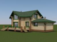 Проект дома с баней из профилированного бревна Д-181